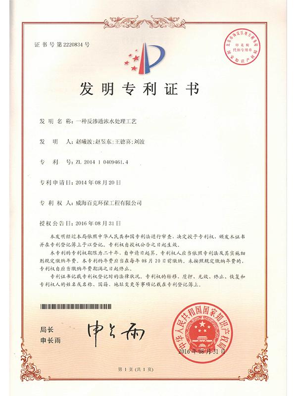 ZL7反渗透浓水处理工艺专利